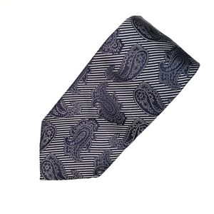 Ermenegildo Zegna Paisley Striped Silk Neck Tie
